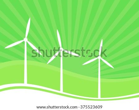 Wind turbine background, vector illustration, green energy concept.