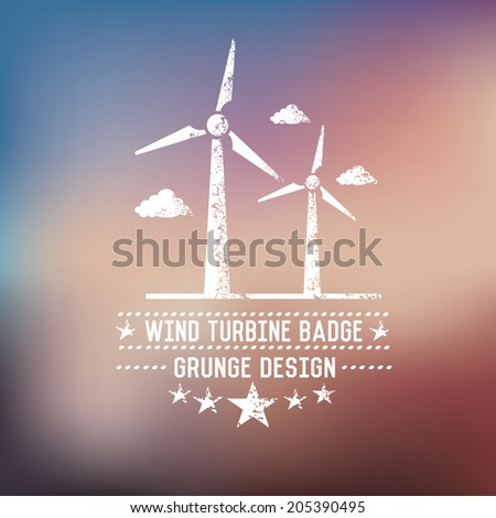 Wind turbine badge on blur background,vector - stock vector