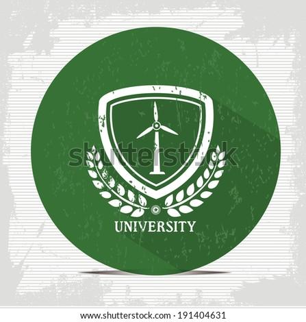 Wind turbine badge symbol,vector - stock vector