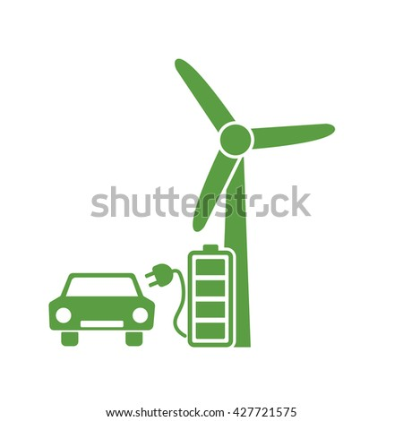wind turbine, charger, car, ecology green icons set on white background - stock vector
