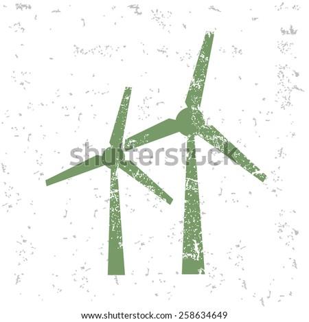 Wind turbine design on old paper,grunge vector - stock vector