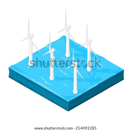 Wind Turbine farm in the ocean for the creation of electricity. Wind farm Turbines in the ocean for farming wind. - stock vector