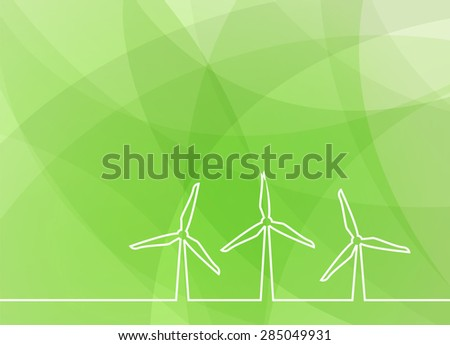 wind turbine green abstract background - stock vector