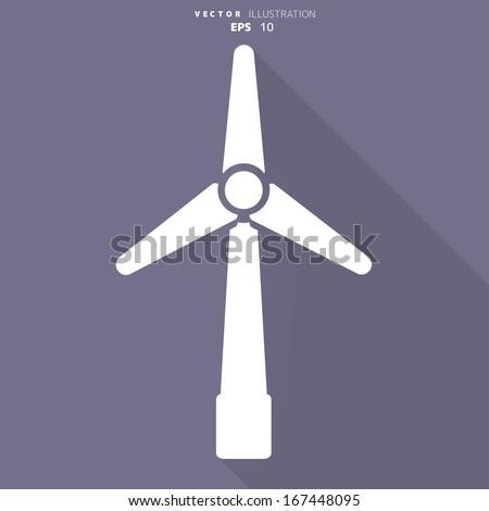 wind turbine icon, eco concept - stock vector