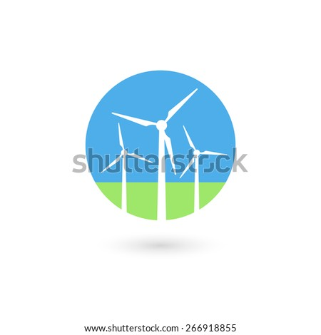 Wind turbine icon. Isolated on white background. Vector illustration, eps 10. - stock vector