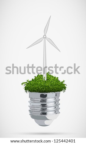 wind turbine in bulb. the concept of clean energy - stock vector