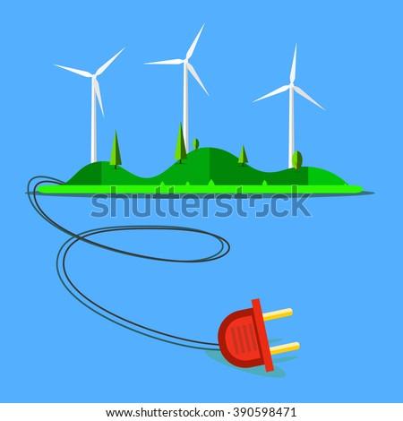 Wind Turbine landscape illustration. Wind energie. - stock vector