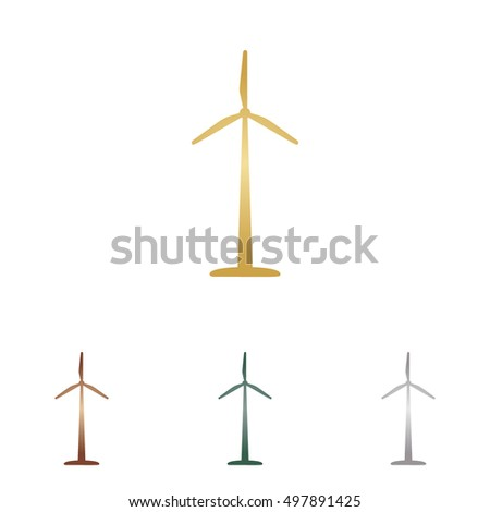 Wind turbine logo or sign. Metal icons on white backgound.
