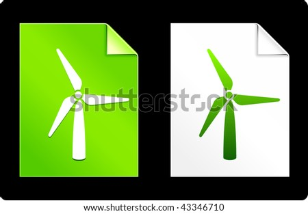 Wind Turbine on Paper Set Original Vector Illustration