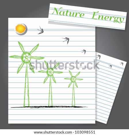 Wind turbine on paper,Vector - stock vector
