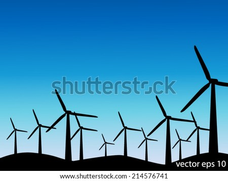Wind Turbine Silhouette vector illustrator background