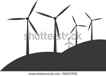 wind turbine silhouettes on white background - stock vector