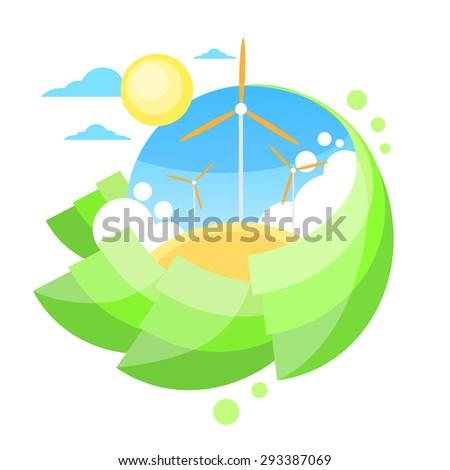 Wind Turbine Tower Blue Sky Sun Green Grass Energy Technology Flat Circle Logo Banner Vector Illustration - stock vector