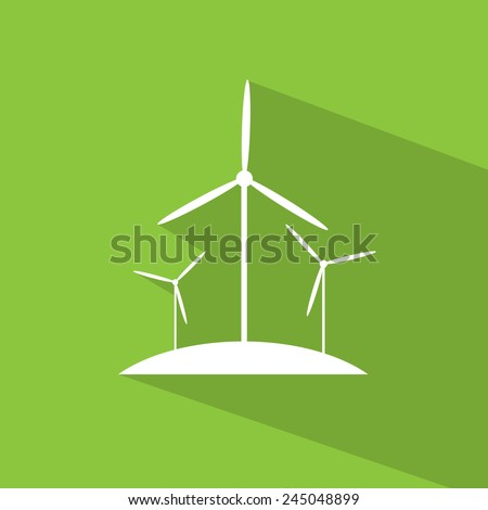 wind turbine tower energy recycle technology flat design vector illustration over green background - stock vector