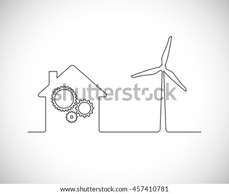 wind turbine with house and gears outline icon - stock vector