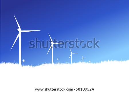 wind turbines and blue sky - stock vector