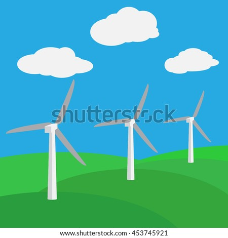 wind turbines at fields vector