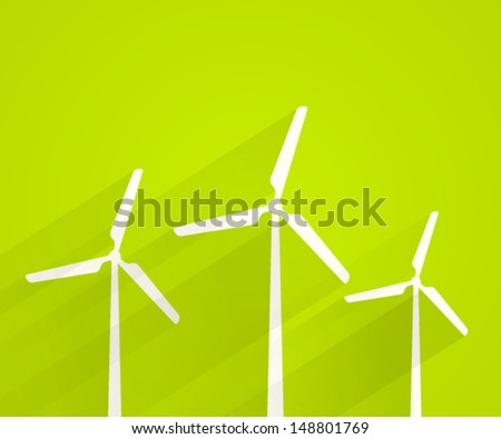Wind turbines background. Vector illustration. - stock vector
