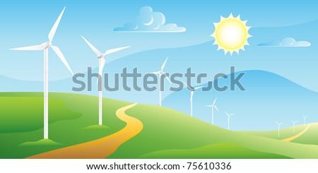 Wind turbines farm on a sunny summer day landscape - stock vector