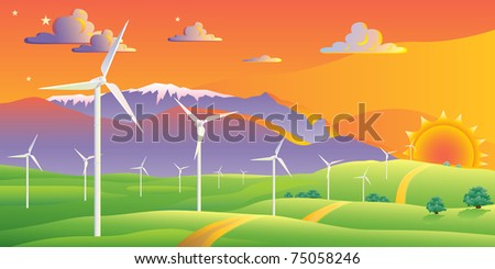 Wind turbines farm sunset landscape - stock vector