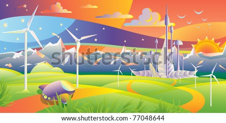 Wind turbines farm with a futuristic city on the background on a summer sunset landscape - stock vector