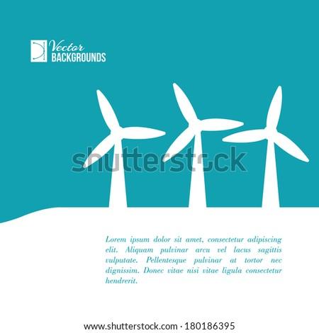 Wind turbines generating electricity. Vector illustration. - stock vector