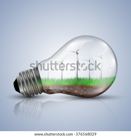 Wind turbines in a light bulb. Ecology concept vector illustrations.