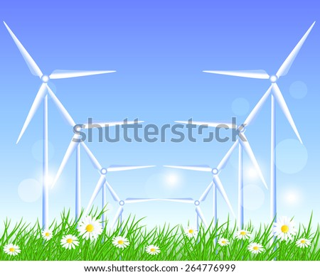 Wind turbines in the field with flowers - stock vector