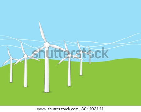 Wind turbines landscape sky background