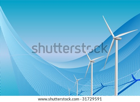 Wind turbines on blue background - stock vector
