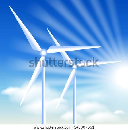 Wind turbines on the blue sky background and sun - stock vector