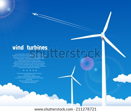 Wind turbines over blue sky - stock vector