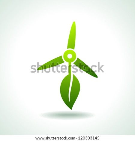 wind turbines with leaf save environment concept - stock vector
