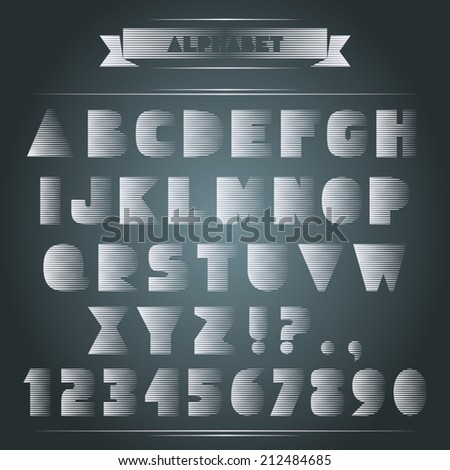 Set Of ABC Letters Like Damaged With Wind. Special Expressive Alphabet.