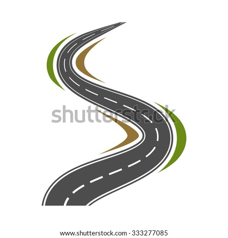 Winding highway or road icon - vector illustration - stock vector