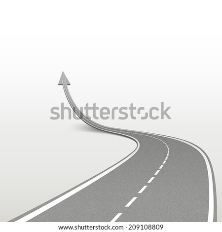 winding road in arrow shape isolated over white background - stock vector