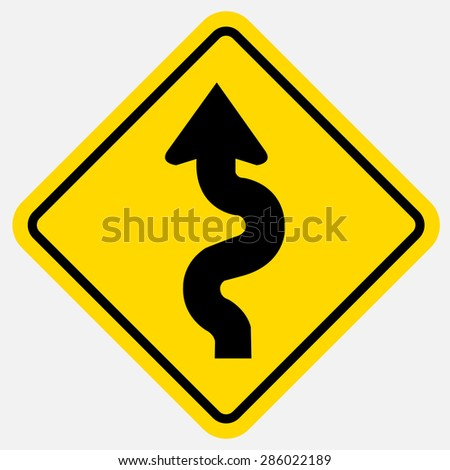 Winding Road Sign - stock vector