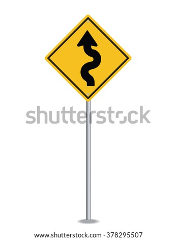 Winding road sign stock vector 378295507 shutterstock winding road sign publicscrutiny Images