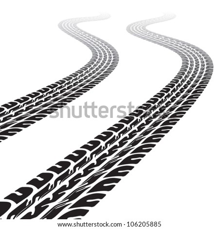 Winding trace of the tires - stock vector