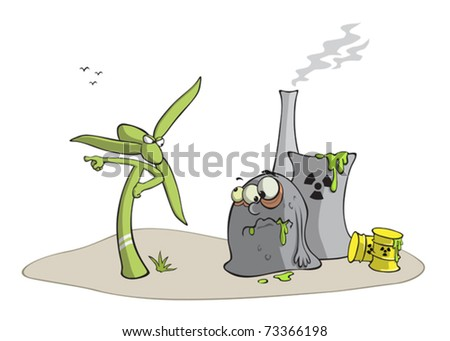 Windmill against nuclear power plant, illustration - stock vector