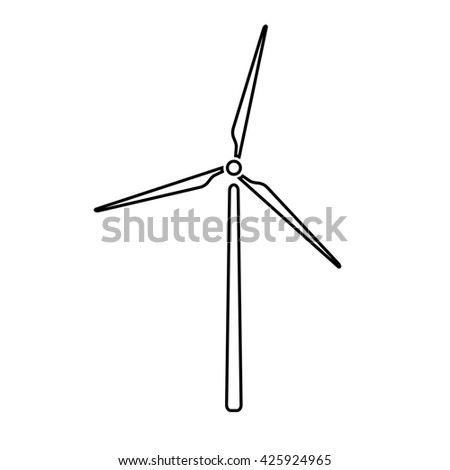 Windmill, alternative and renewable energy supply source. Line icon of windmill and wind energy. Vector Illustration - stock vector