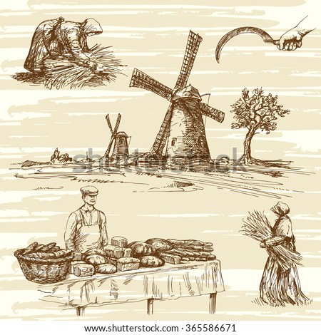 windmill and bakers products, hand drawn collection - stock vector