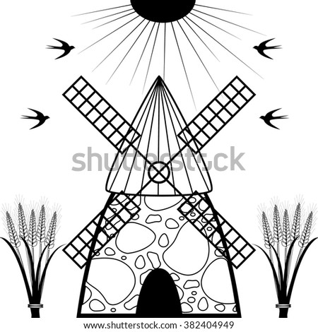 Windmill and wheat ears.  Agriculture landscape.  - stock vector
