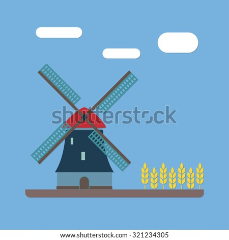 Windmill and wheat ears. Mill symbol. Agriculture landscape. Colorful vector illustration in flat style. - stock vector