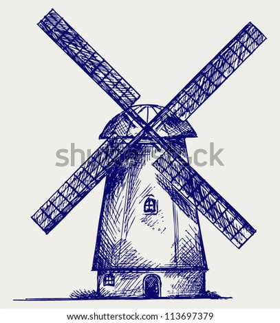 Windmill. Doodle style - stock vector