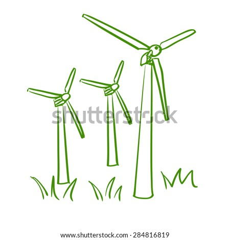Windmill. Doodle style. excellent vector illustration, EPS 10 - stock vector