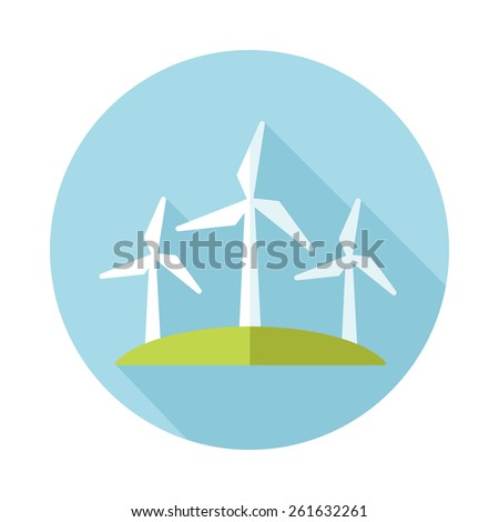 Windmill flat icon with long shadow - stock vector