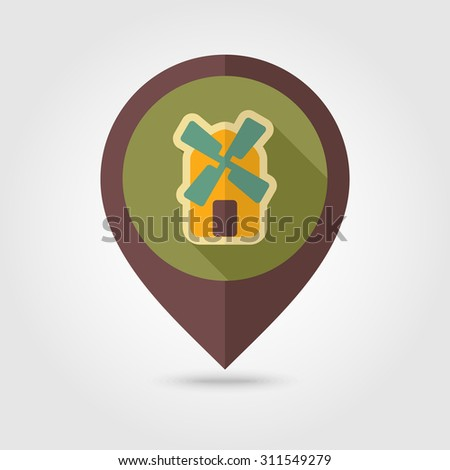 Windmill flat mapping pin icon with long shadow - stock vector