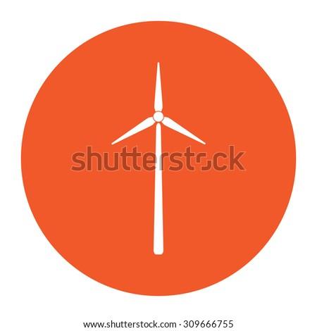 Windmill. Flat white symbol in the orange circle. Vector illustration icon - stock vector