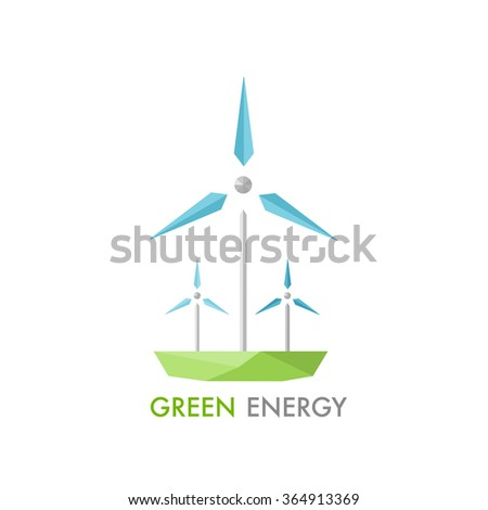 Windmill for electric power production logo. Modern low-poly concept of alternative energy generator. Green earth conservation. - stock vector